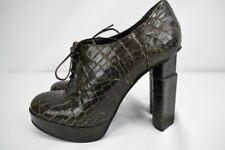 New Fendi Platform Oxford Booties Crocodile Embossed Leather 39 8.5 Dark Brown
