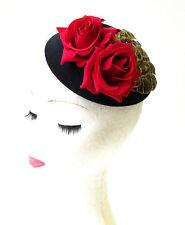 Red Rose Pheasant Feather Flower Pillbox Hat Fascinator 1950s Black Brown 1993