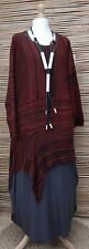 LAGENLOOK*OVERSIZE WOOL BLEND ASYMMETRICAL A-LINE JUMPER*BLACK/BRICK* XL-XXL