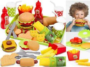 Burger Chips Pretend Play Food Set Hamburger Hotdog Fries Role Play toy