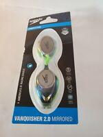 Speedo Vanquisher 2.0 Mirrored Swim Competitive Racing Goggles Green.