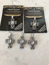 Silver Cross Pendant Lot Of 5 Jewelry Making Cousin