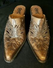 Carlos Santana Rodeo Womens 7 M Leather Cowboy/girl Western Mules Shoes~ Brazil