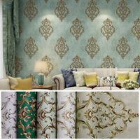 10M 3D Vintage Elegant Gold Damask Wallpaper Embossed Textured Non-woven Roll