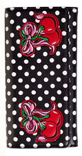 Banned Rockabilly Polka Dots Cherries Faux Leather Wallet Purse Black White Dots