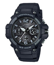 Casio MCW100H-1A3V, Chronograph Watch, Black Resin Band, 100 Meter WR, Date