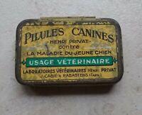 Ancienne petite Boite Collection Métal Pilules Canines H Privat Véterinaire