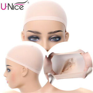 5PCS  Beige Stretchable Wigs Cap Hair Net Elastic Mesh Weaving Caps For Women US