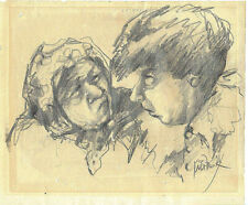 Idit Fank (b. 1952) Old charcoal drawings Heads of a woman and a man. Signed