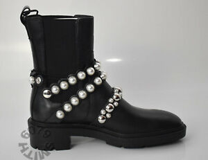 BNWT Zara Black Leather Boots With Pearl Detail