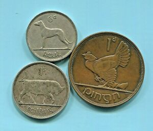 éIRE - THREE  BEAUTIFUL HISTORICAL COINS: PINGIN, REUL, SILVER SCILING,  1937-45