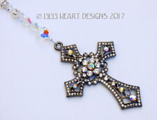 m/w Swarovski Beads Big Black Cross Rhinestones Suncatcher Lilli Heart Designs