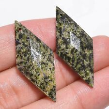 29 Ct. Natural Unakite Flat Diamond Drilled Faceted Loose Gemstone Pair JM-1094