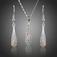 Swarovski Element Crystals Chain Pendant Necklace Earrings Bridal Jewellery Set