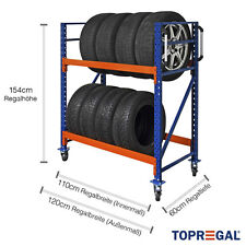 Reifenwagen Felgenwagen Reifenregal fahrbar 120x154x60cm (B/H/T) 2 Ebenen NEU!