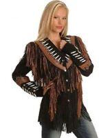 Ladies Western Jacket Fringe Native American Cow-Lady Style Coat Women Jacket