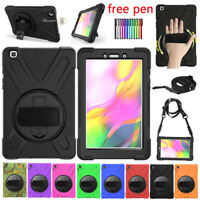 For Samsung Galaxy Tab A 8.0 2019 T290 Heavy Duty Rugged With Strap Case Cover