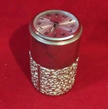 Round Ornate Trinket Box with Wind up Alarm Clock Made in Germany