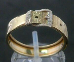 Goldring Ring 375 GOLD 9 Karat Gelbgold belt buckle Gürtelschnalle 9k bicolor