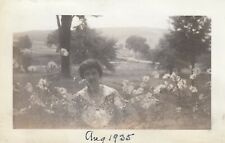 Surreal Abstract Vintage Photo Ghostly Grandma in Flower Garden Creepy Oddity