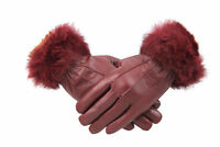 Womens Ladies Red Wine Leather Gloves With Fur Trim Fleece Lined Warm Winter