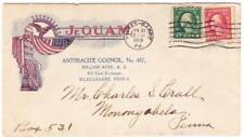 1c/2c WASH-WAR RATE-BICOLOR ILLUSTRATED WWI PATRIOTIC-Jr.O.U.A.M.