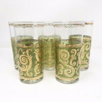 vtg Mid Century Culver Toledo Bar Glasses Tumblers Green 22K Gold Scroll Design