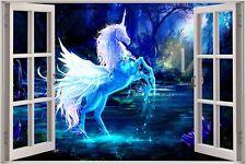 Cheap 3D Window view Fantasy Unicorn Pegasus Wall Sticker Decal Wallpaper 719