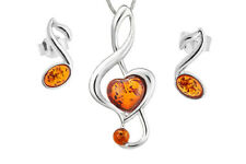 925 Sterling Silver & Amber Notes Pendant Stud Earrings Set Jewellery Jewelry