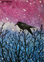 ACEO original miniature painting ~ Raven View