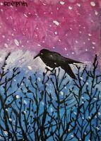 ACEO original miniature painting ~ Raven View