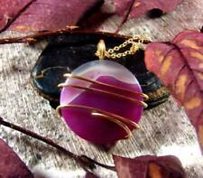 Colorful Vibrant Agate Slice Pendant Necklace Talisman Pendant in Bronze #21