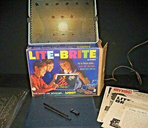 LITE-BRITE #5455 By Hasbro 1967 Vintage w Original Box Pegs Light Bright Works!