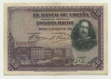 Spain 50 Pesetas 15-8-1928 Pick 75.a VF Circulated Banknote No Serial Letter
