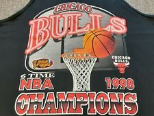 VTG 90s 1998 NBA Finals Chicago Bulls 6 Time Champions Tank T Shirt BLK X-Large