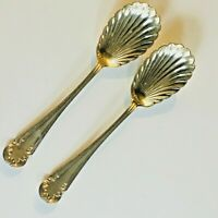 Silver Plated Shell Large Pair of Berry Spoons