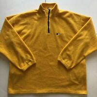 Tommy Hilfiger Mens Fleece Sweater XL Yellow 1/4 Zip Pull Over with small logo