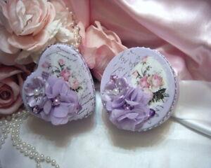 Shabby Victorian Cottage~2 PC Metal Tin Set~LAVENDER~Rose Design~Gemstones~OOAK