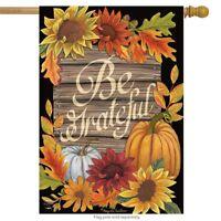 "Be Grateful Autumn House Flag Thanksgiving Floral Fall 28"" x 40"" Briarwood Lane"