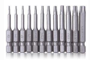 Torx Bit Set T5 T6 T7 T8 T9 T10 T15 T20 T25 T27 T30 T40 Magnetisch 50mm mit loch