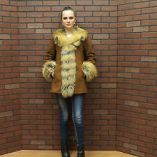 ladies real HIDE SOCIETY COGNAC SHEARLING SHEEPSKIN lamb & RED FOX FUR JACKET sm