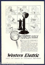 1925 WESTERN ELECTRIC advertisement, candlestick telephone magnifying glass