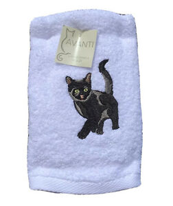 Avanti 2 pack hand towels white with embroidered black cat gift cat lover