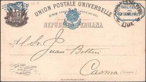 PERU, 1896. Post Card  H&G 14,  Lima - Casma