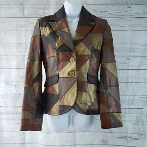 In Suede Womens Patchwork Leather Jacket Sz Small Brown Button Front