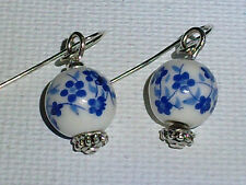 Porcelain Blue Floral Earrings