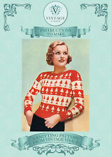 Vintage 1930s knitting pattern-how to make chic christmas tree design jumper