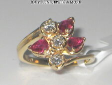 EXQUISITE ESTATE 14K YELLOW GOLD PEAR RED RUBY & DIAMOND RING .36 CARAT Sz 7.5