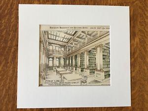 Steele Memorial Library, Elmira, NY, 1897, Hand Colored Original