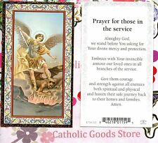 St Michael - Prayer for those in the Service - Gold Trim - Paperstock Holy Card